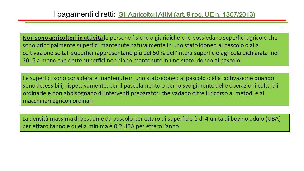 I pagamenti diretti: Gli Agricoltori Attivi (art. 9 reg. UE n