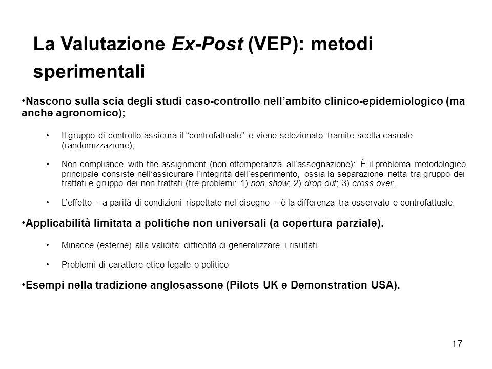 La Valutazione Ex-Post (VEP): metodi sperimentali