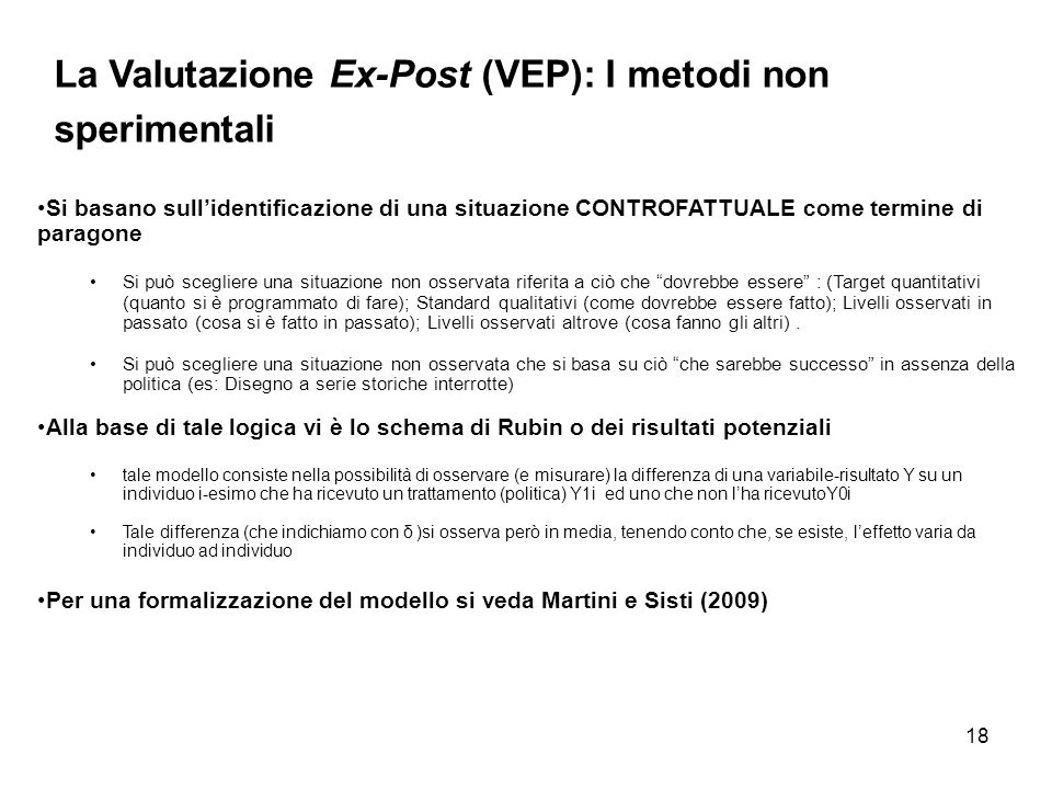 La Valutazione Ex-Post (VEP): I metodi non sperimentali