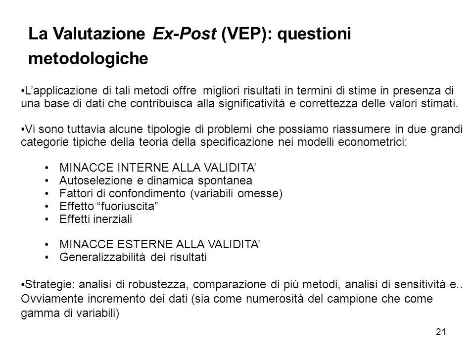 La Valutazione Ex-Post (VEP): questioni metodologiche