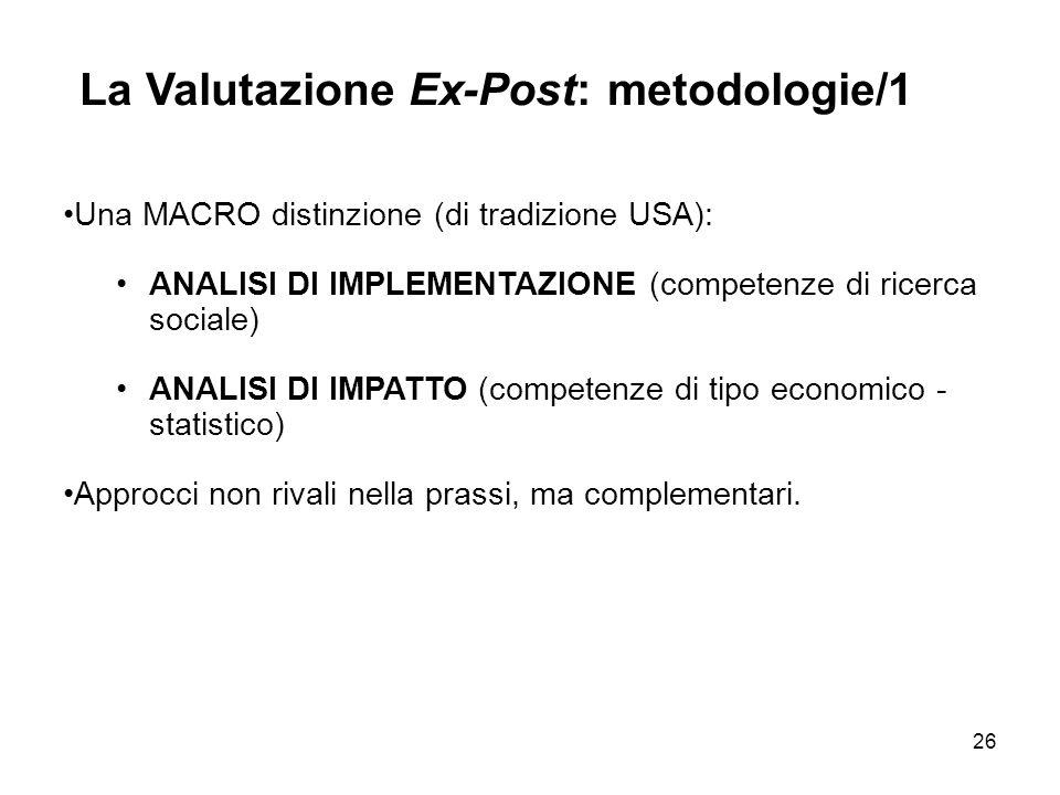 La Valutazione Ex-Post: metodologie/1
