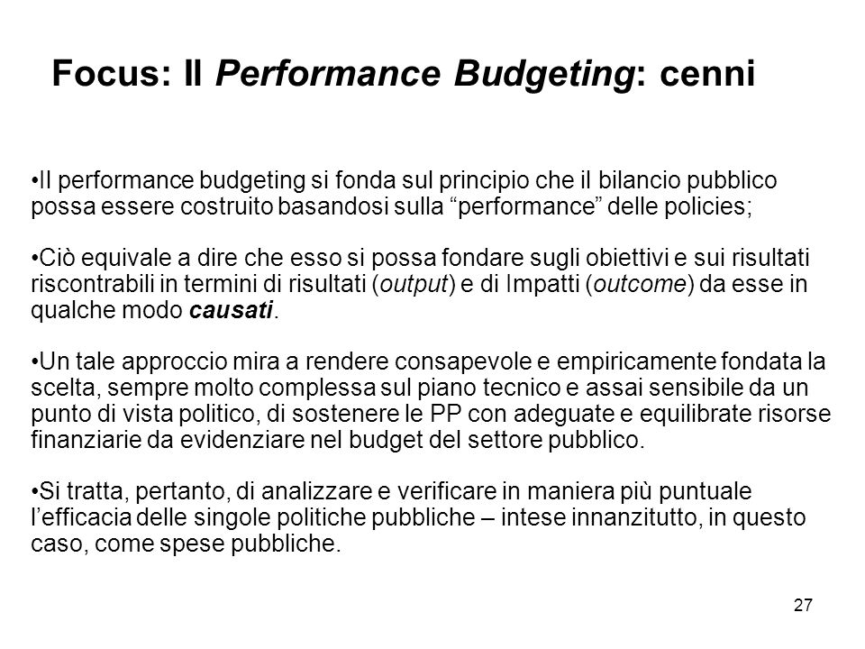 Focus: Il Performance Budgeting: cenni