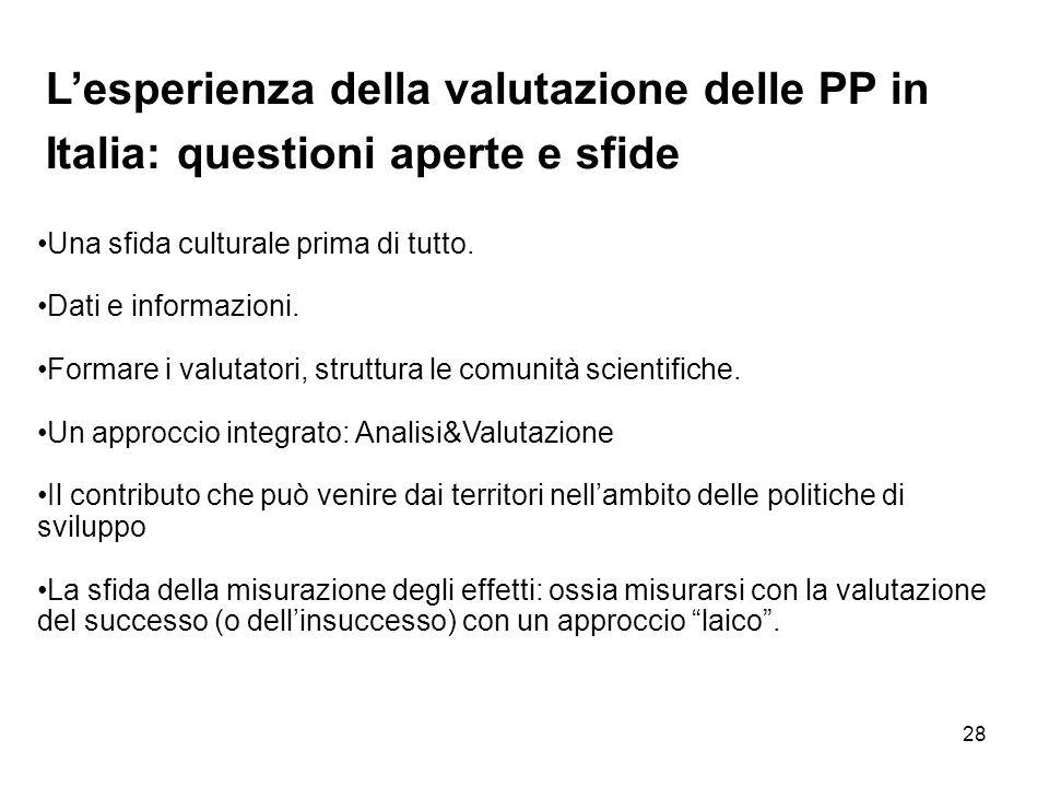 L'esperienza della valutazione delle PP in Italia: questioni aperte e sfide