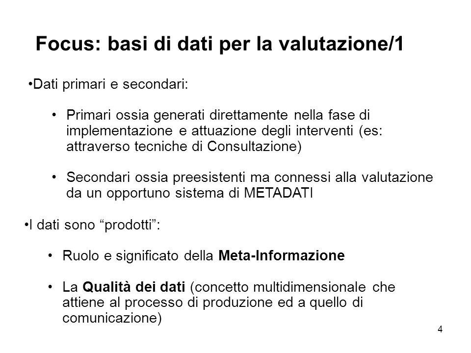 Focus: basi di dati per la valutazione/1