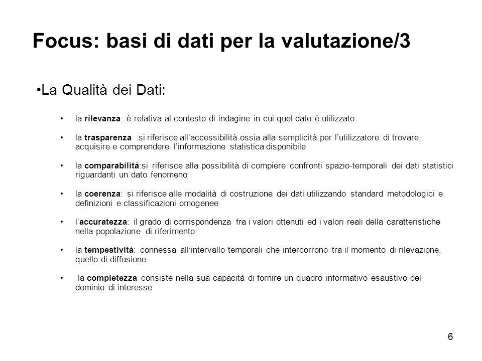 Focus: basi di dati per la valutazione/3