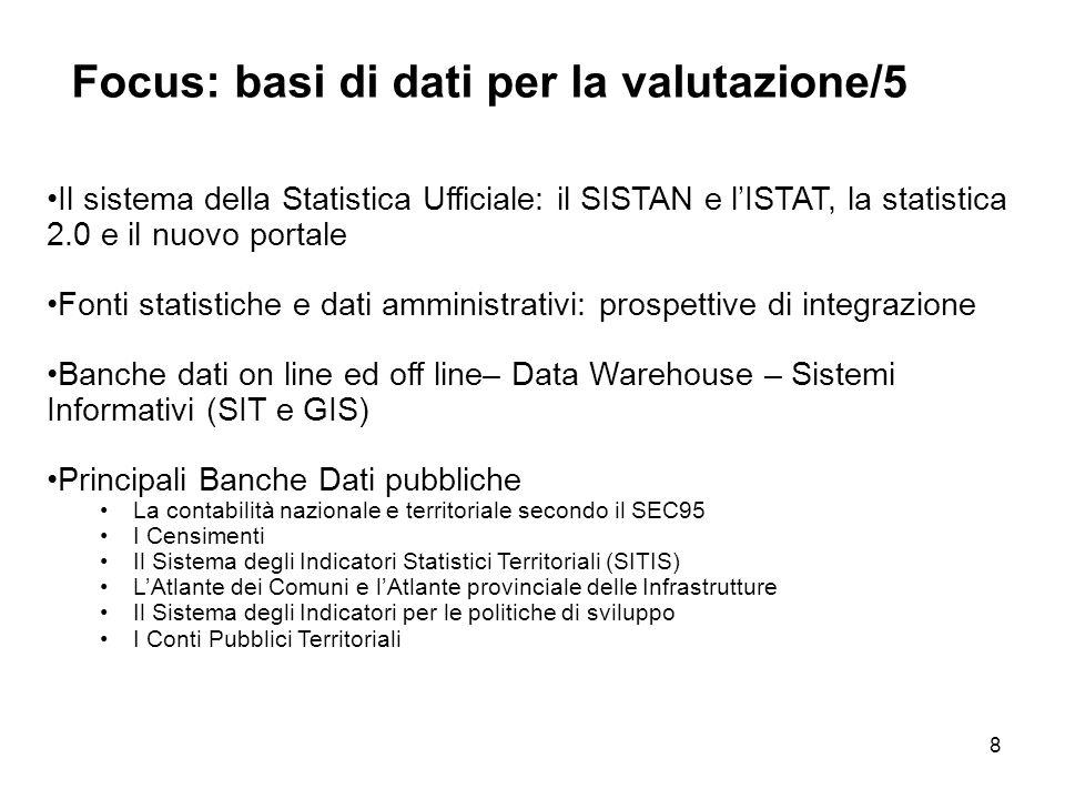 Focus: basi di dati per la valutazione/5