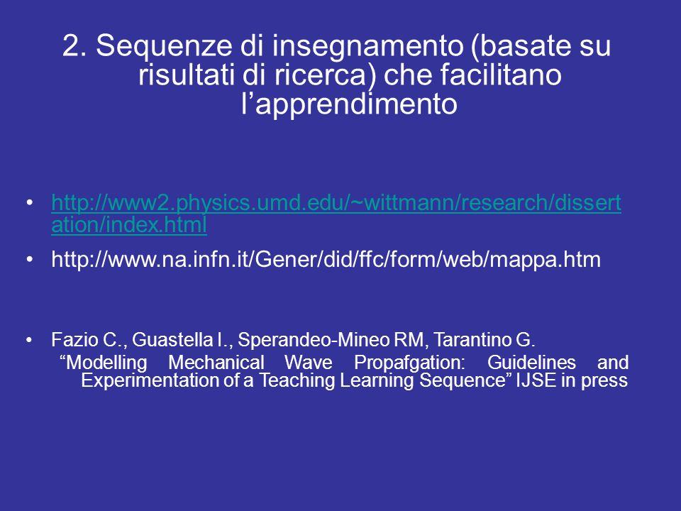 2. Sequenze di insegnamento (basate su risultati di ricerca) che facilitano l'apprendimento