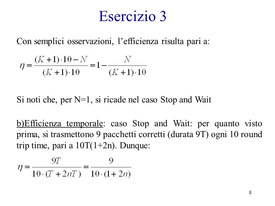 Esercizio 3 Con semplici osservazioni, l'efficienza risulta pari a: