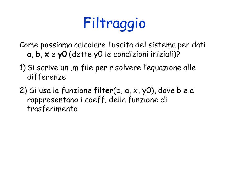 Filtraggio Come possiamo calcolare l'uscita del sistema per dati a, b, x e y0 (dette y0 le condizioni iniziali)