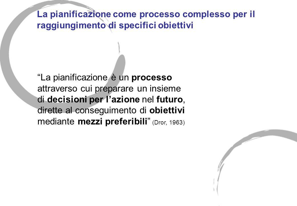 La pianificazione come processo complesso per il raggiungimento di specifici obiettivi