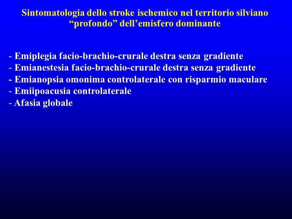 Sintomatologia dello stroke ischemico nel territorio silviano profondo dell'emisfero dominante
