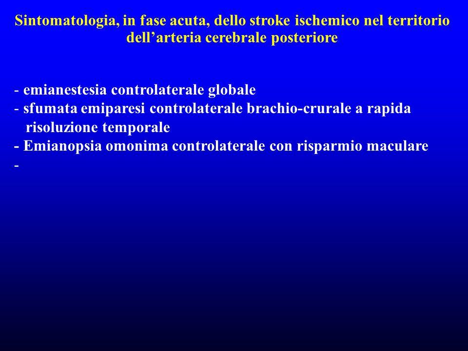 Sintomatologia, in fase acuta, dello stroke ischemico nel territorio dell'arteria cerebrale posteriore