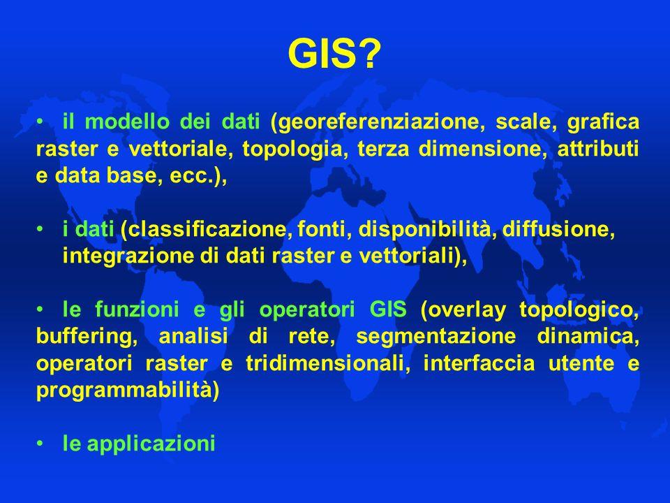 GIS il modello dei dati (georeferenziazione, scale, grafica raster e vettoriale, topologia, terza dimensione, attributi e data base, ecc.),