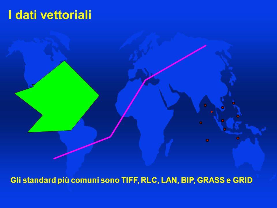 I dati vettoriali Gli standard più comuni sono TIFF, RLC, LAN, BIP, GRASS e GRID