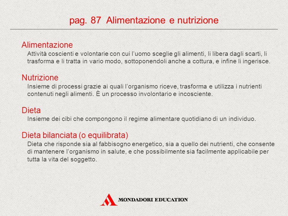 pag. 87 Alimentazione e nutrizione
