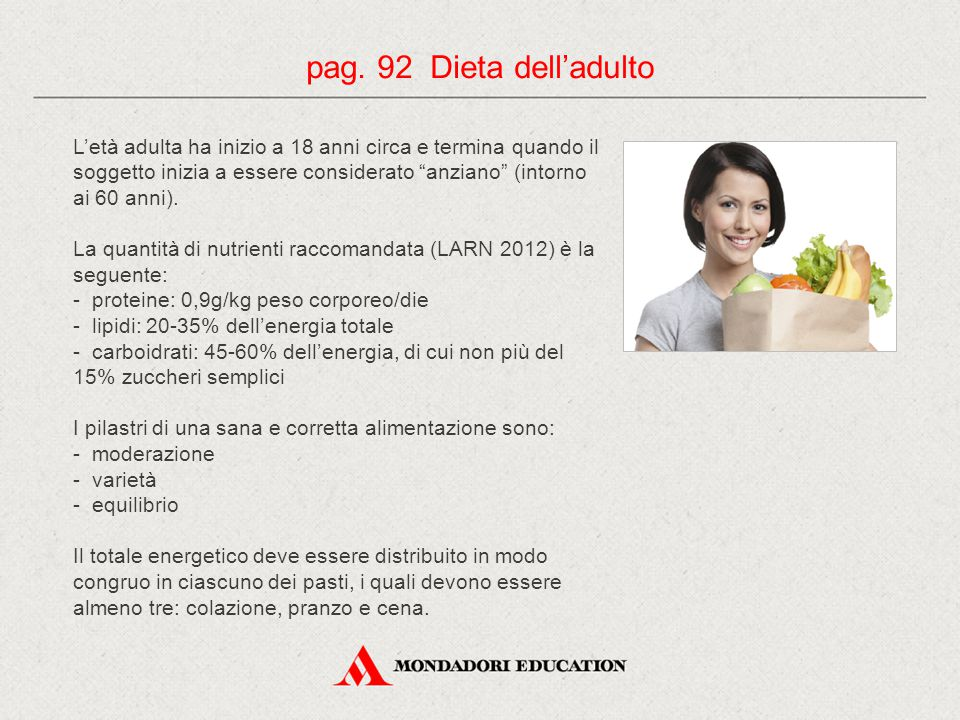 pag. 92 Dieta dell'adulto