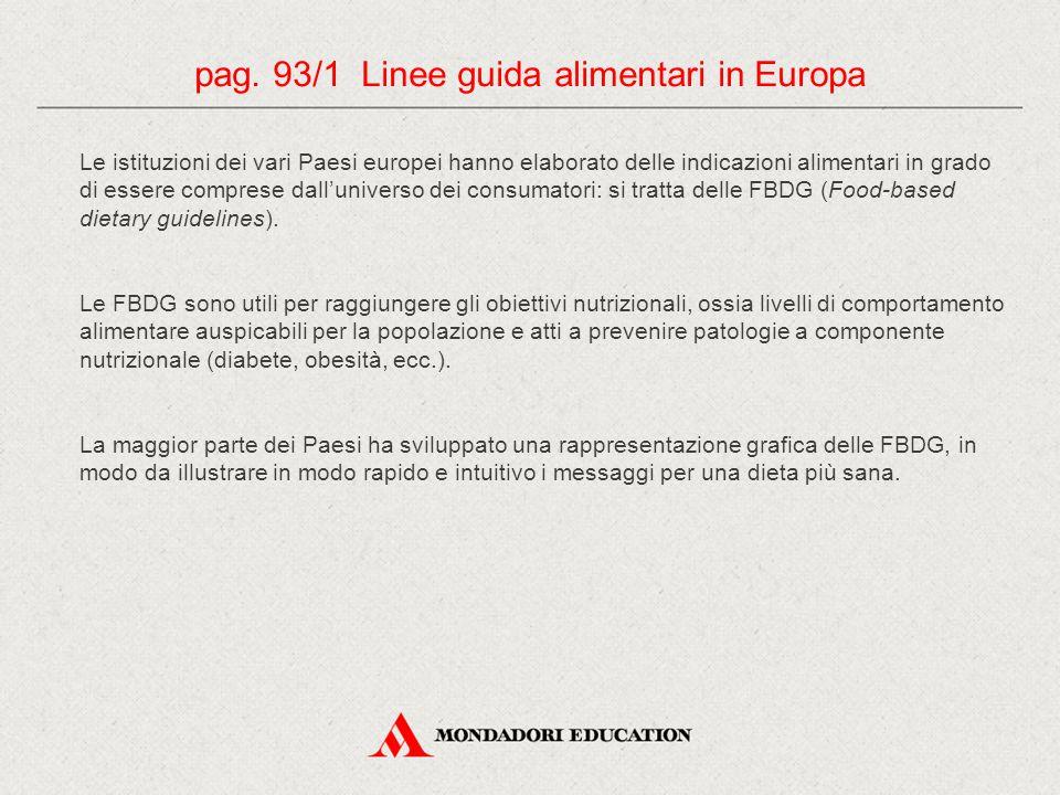 pag. 93/1 Linee guida alimentari in Europa