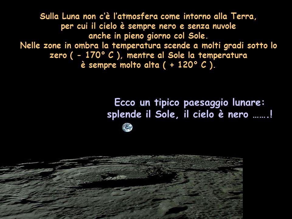 Ecco un tipico paesaggio lunare: splende il Sole, il cielo è nero …….!