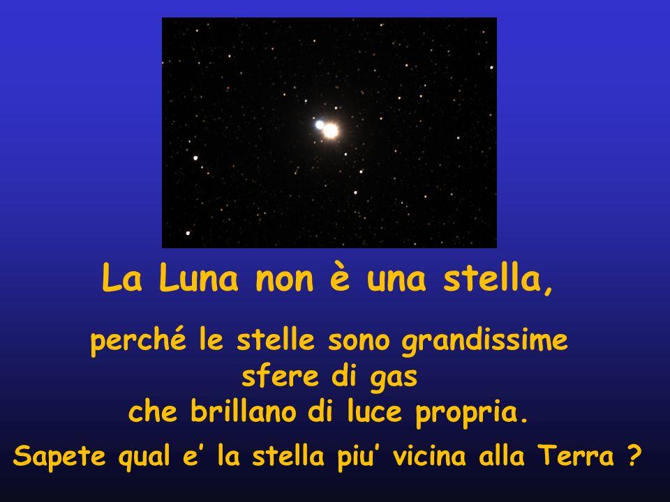 La Luna non è una stella,perché le stelle sono grandissime sfere di gas. che brillano di luce propria.