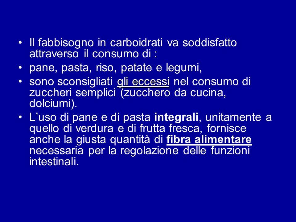 Il fabbisogno in carboidrati va soddisfatto attraverso il consumo di :