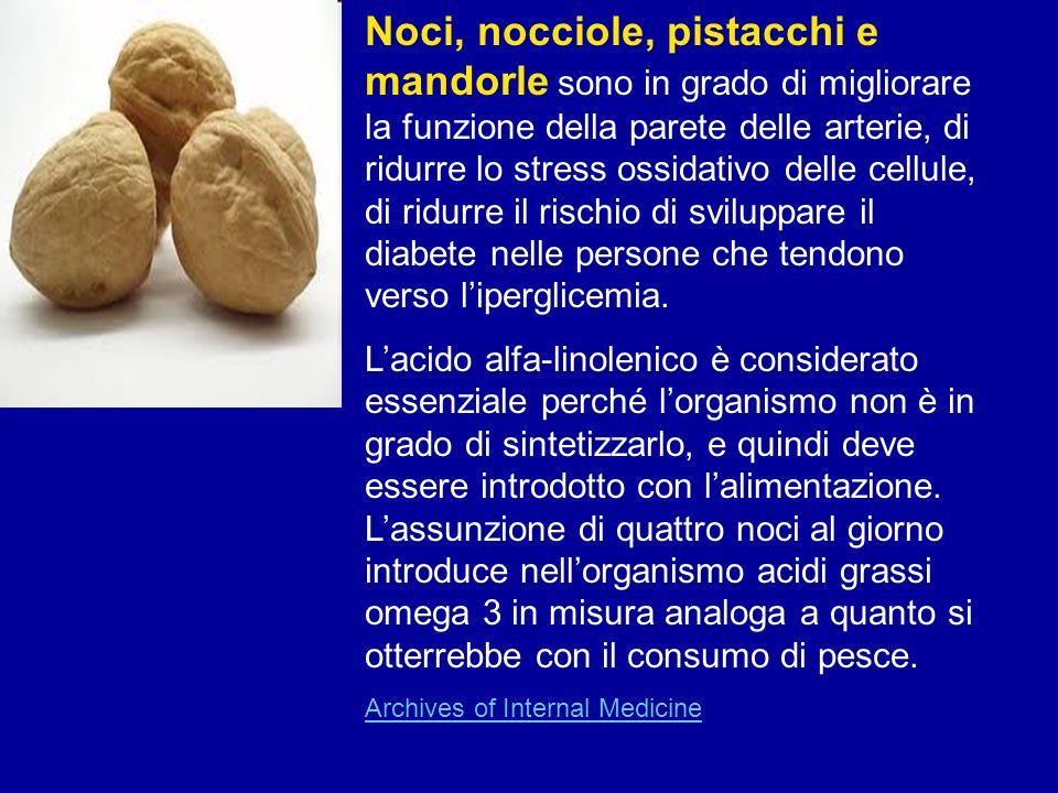 Noci, nocciole, pistacchi e mandorle sono in grado di migliorare la funzione della parete delle arterie, di ridurre lo stress ossidativo delle cellule, di ridurre il rischio di sviluppare il diabete nelle persone che tendono verso l'iperglicemia.