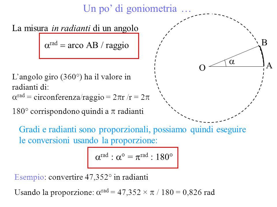 Un po' di goniometria … La misura in radianti di un angolo B