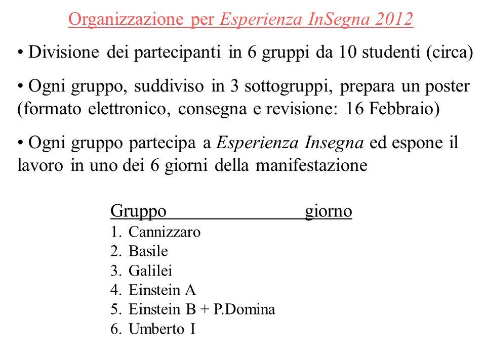 Organizzazione per Esperienza InSegna 2012