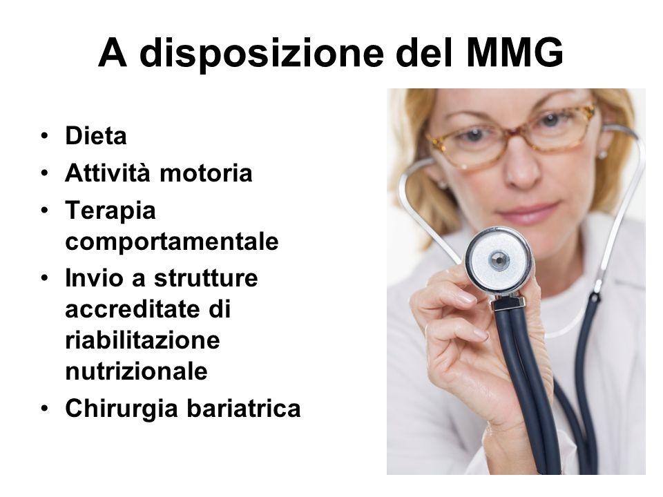 A disposizione del MMG Dieta Attività motoria Terapia comportamentale