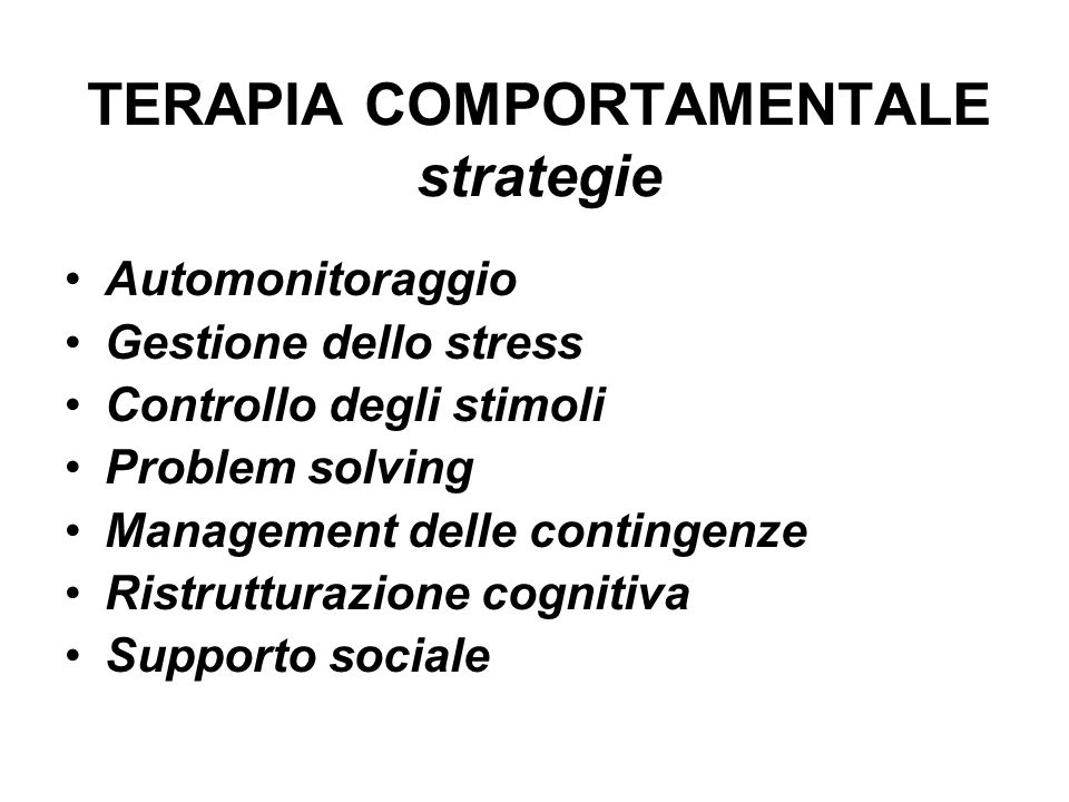 TERAPIA COMPORTAMENTALE strategie
