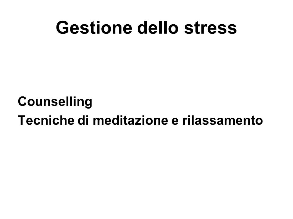 Gestione dello stress Counselling