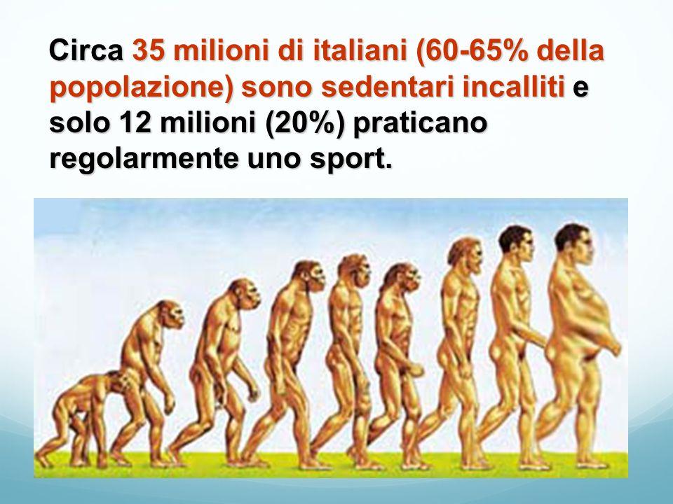 Circa 35 milioni di italiani (60-65% della popolazione) sono sedentari incalliti e solo 12 milioni (20%) praticano regolarmente uno sport.