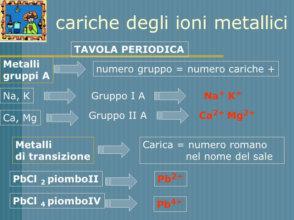 cariche degli ioni metallici
