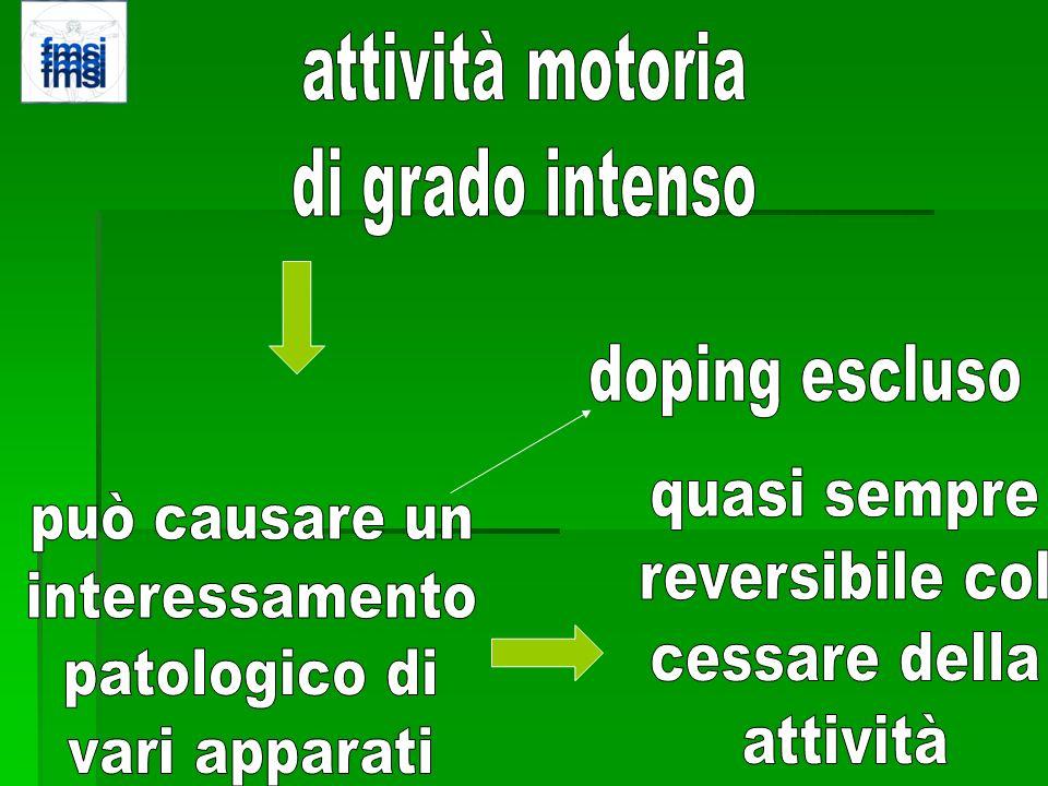 attività motoriadi grado intenso. doping escluso. quasi sempre. reversibile col. cessare della. attività.