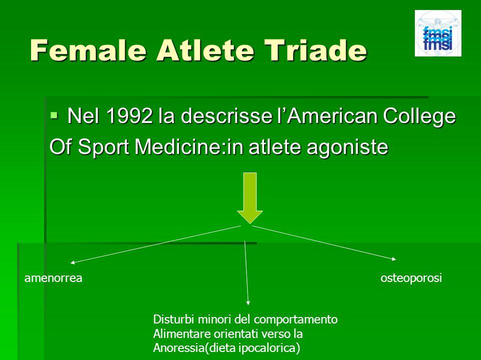 Female Atlete Triade Nel 1992 la descrisse l'American College