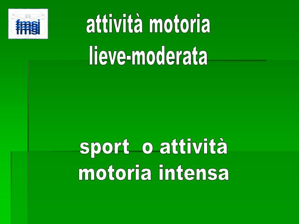 attività motoria lieve-moderata sport o attività motoria intensa