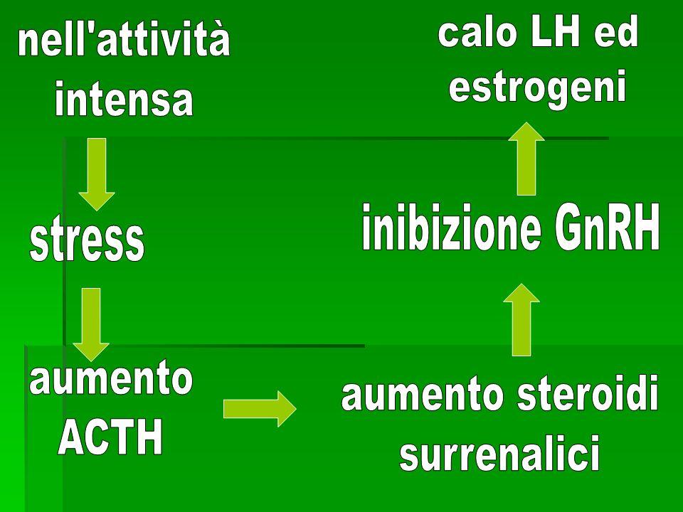 calo LH ed estrogeni. nell attività. intensa. inibizione GnRH. stress. aumento. ACTH. aumento steroidi.