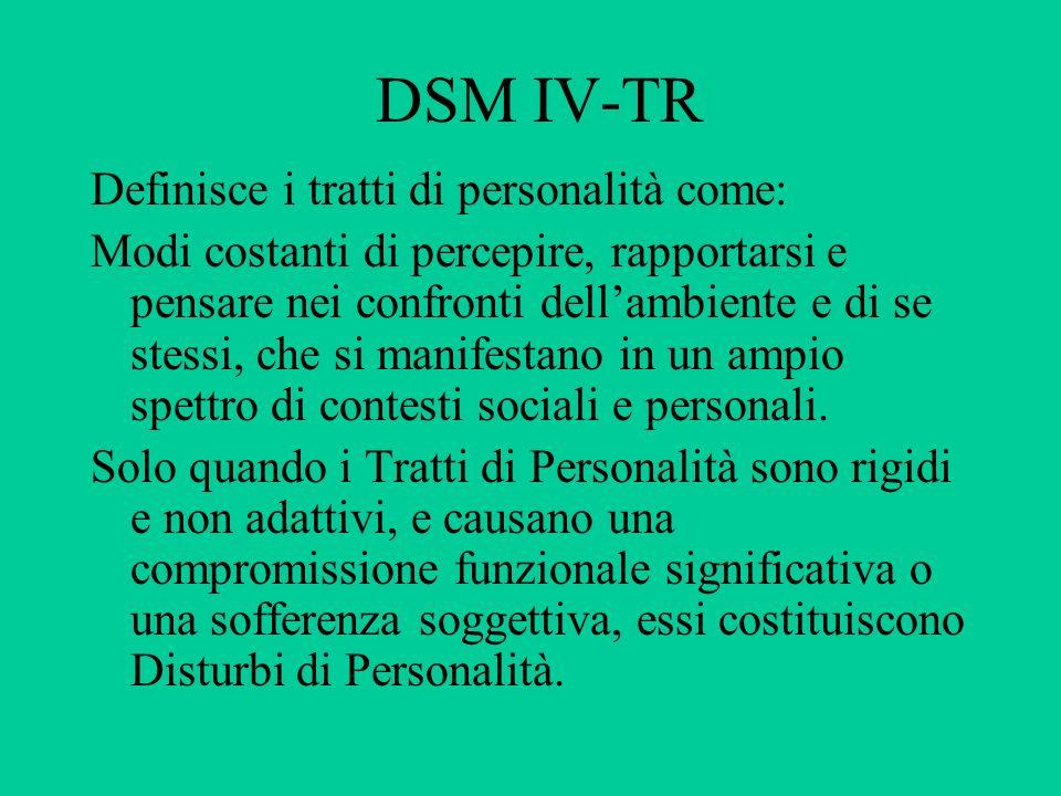 DSM IV-TR Definisce i tratti di personalità come: