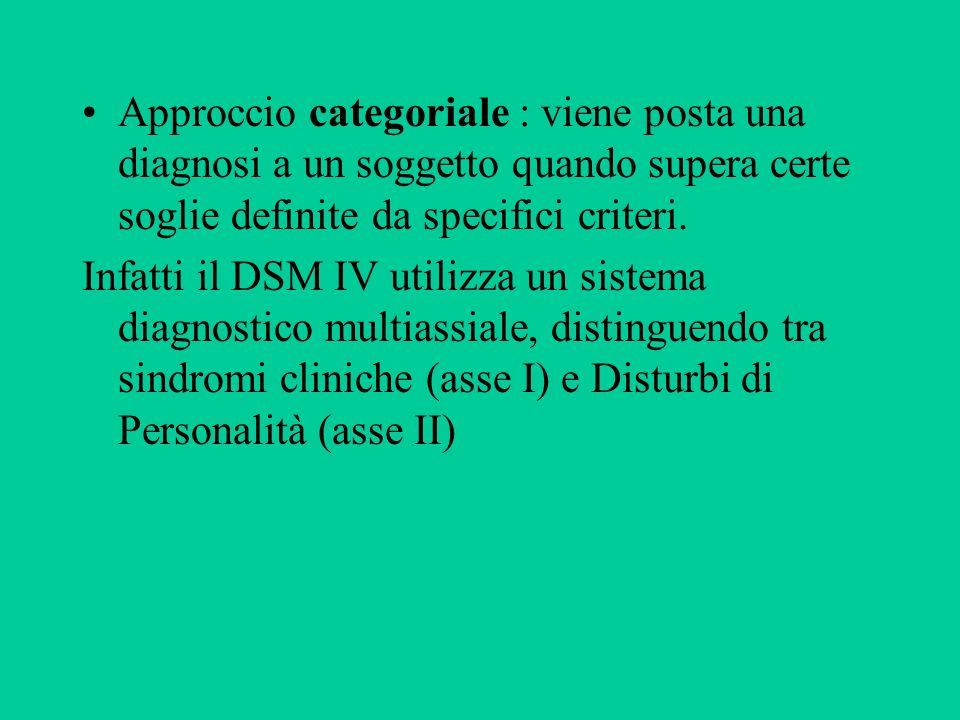 Approccio categoriale : viene posta una diagnosi a un soggetto quando supera certe soglie definite da specifici criteri.