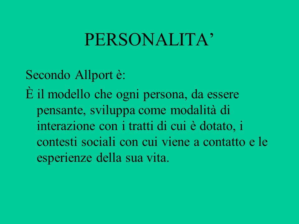 PERSONALITA' Secondo Allport è: