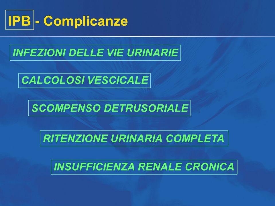 IPB - Complicanze INFEZIONI DELLE VIE URINARIE CALCOLOSI VESCICALE