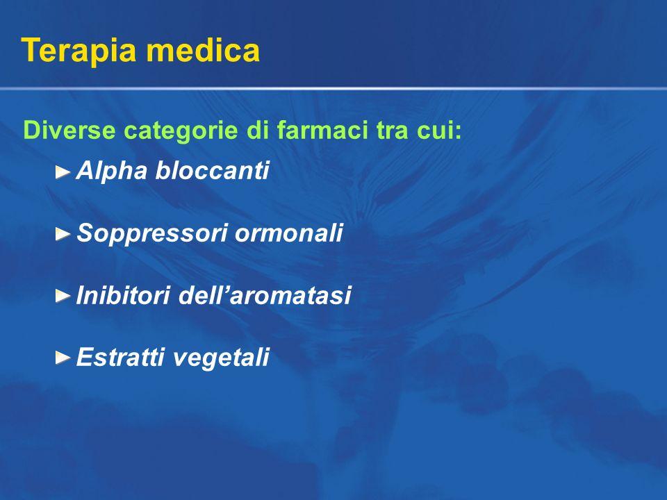 Terapia medica Diverse categorie di farmaci tra cui: Alpha bloccanti