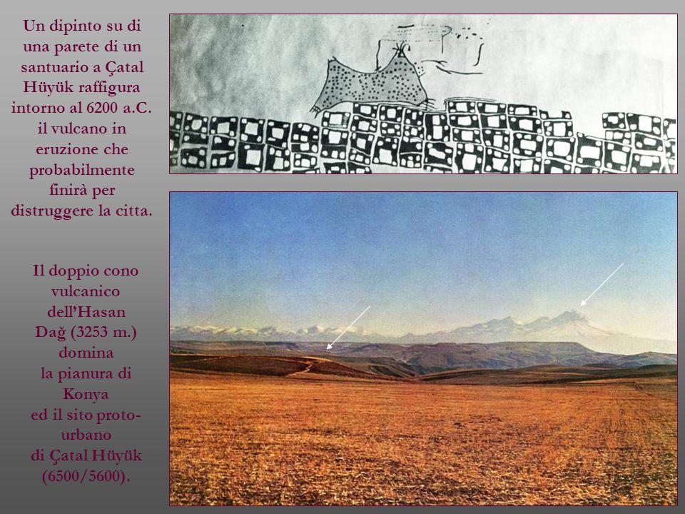 Un dipinto su di una parete di un santuario a Çatal