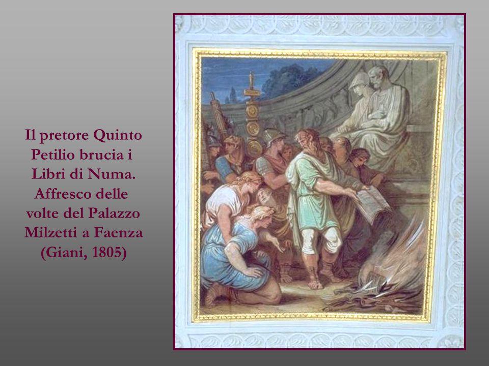 Il pretore Quinto Petilio brucia i. Libri di Numa. Affresco delle. volte del Palazzo. Milzetti a Faenza.