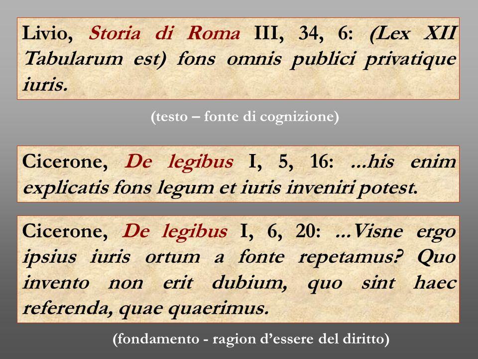 Livio, Storia di Roma III, 34, 6: (Lex XII Tabularum est) fons omnis publici privatique iuris.