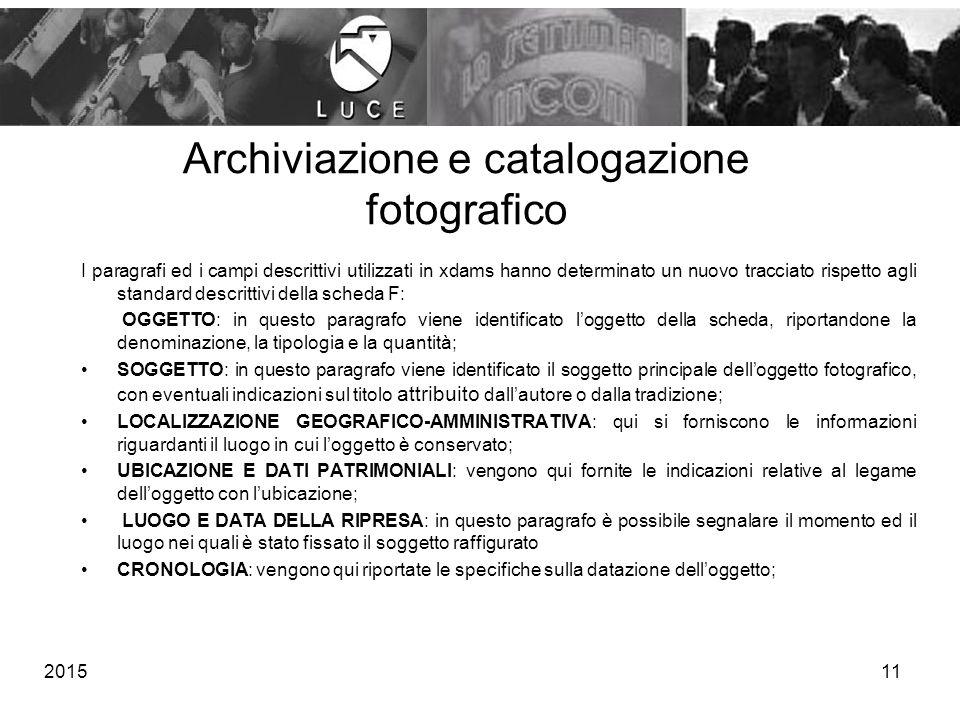 Archiviazione e catalogazione fotografico