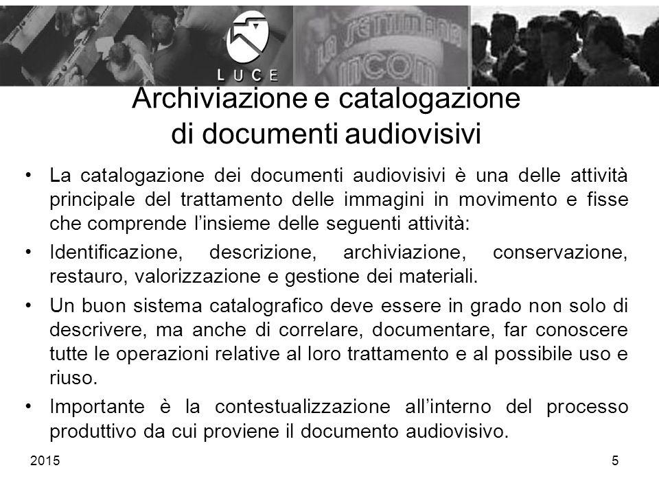 Archiviazione e catalogazione di documenti audiovisivi