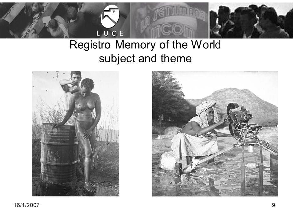 Registro Memory of the World subject and theme