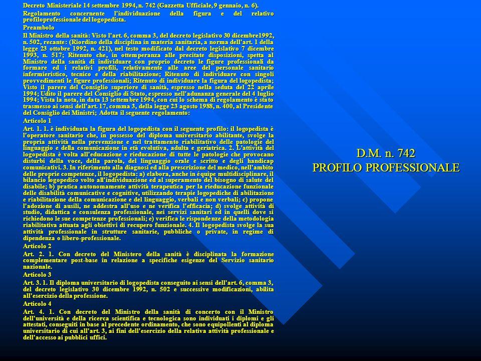 D.M. n. 742 PROFILO PROFESSIONALE