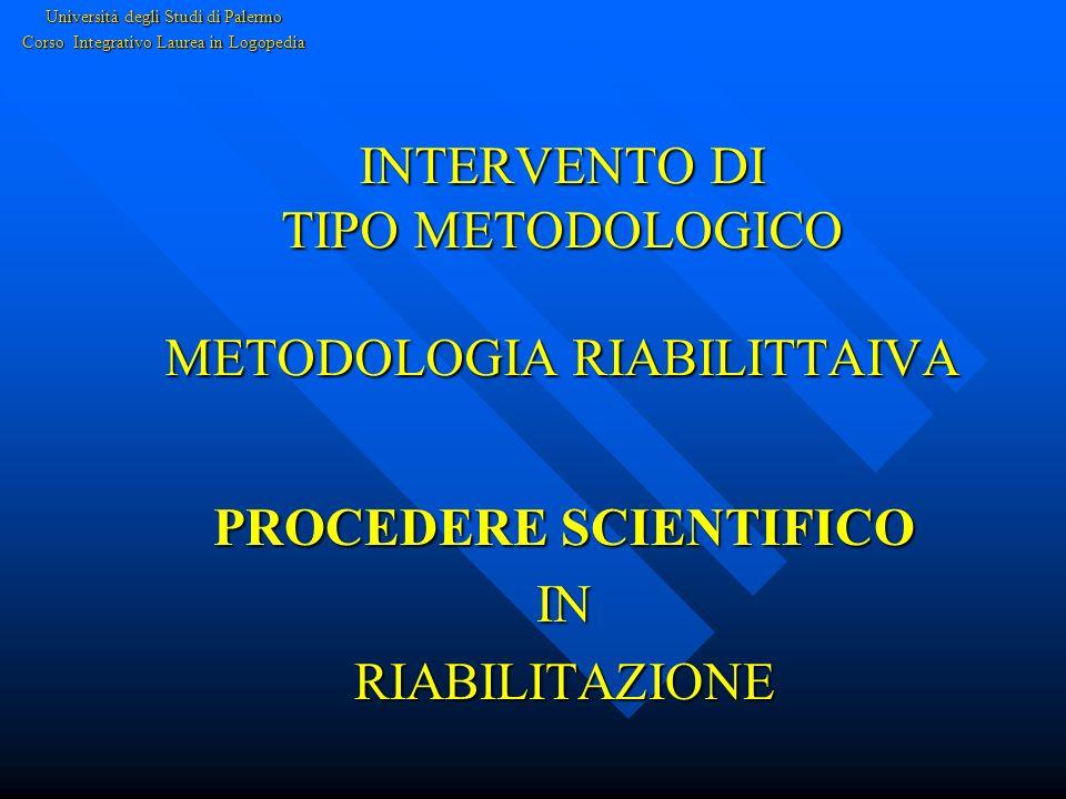 INTERVENTO DI TIPO METODOLOGICO METODOLOGIA RIABILITTAIVA