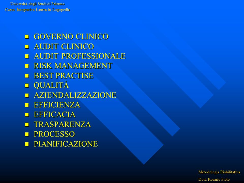 GOVERNO CLINICO AUDIT CLINICO AUDIT PROFESSIONALE RISK MANAGEMENT